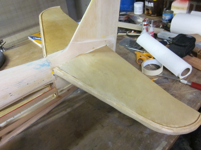 PT-19-64    All dried and tape off, the newly laminated leading edge looks like this.