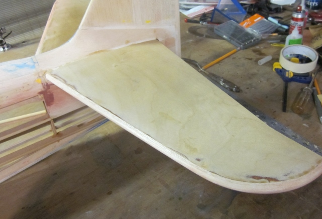 PT-19-68   With the entire new leading edge/tip sanded to finished shape, the horizontal stabilizer looks like this.