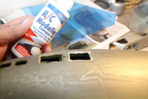 B-17-21-7 Deluxe Materials R/C Modelers Canopy Glue is the best choice for installing all the clear plastic window inserts.